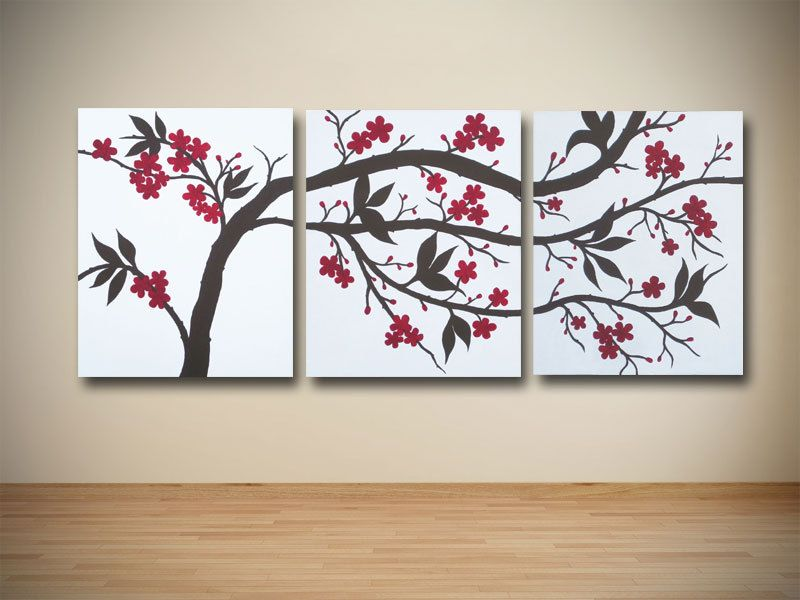 Original Brown and Red Cherry Blossom Triptych Painting on Canvas