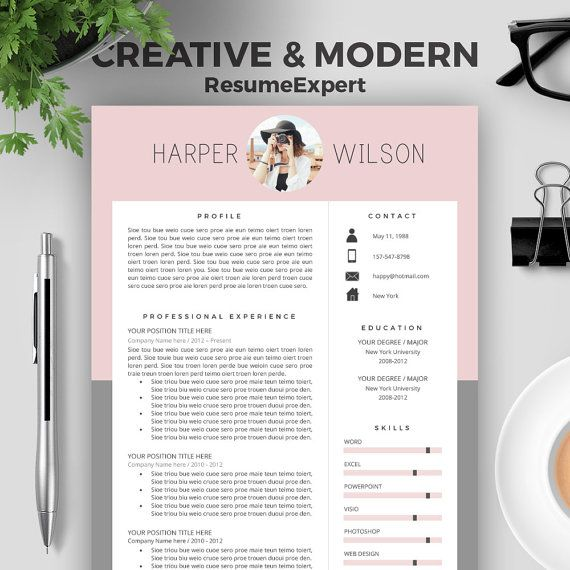 creative resume template for word cover letter cv by resumeexpert