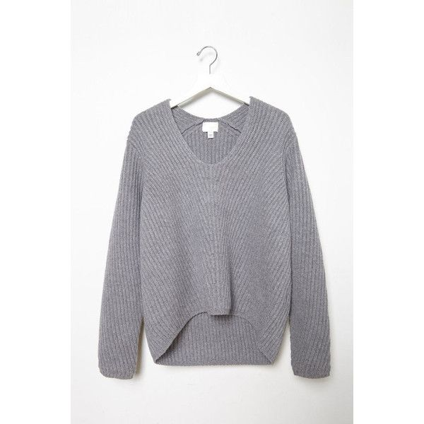 5c584b56b86 Gray Oversized V Neck Sweater ( 79) ❤ liked on Polyvore featuring tops