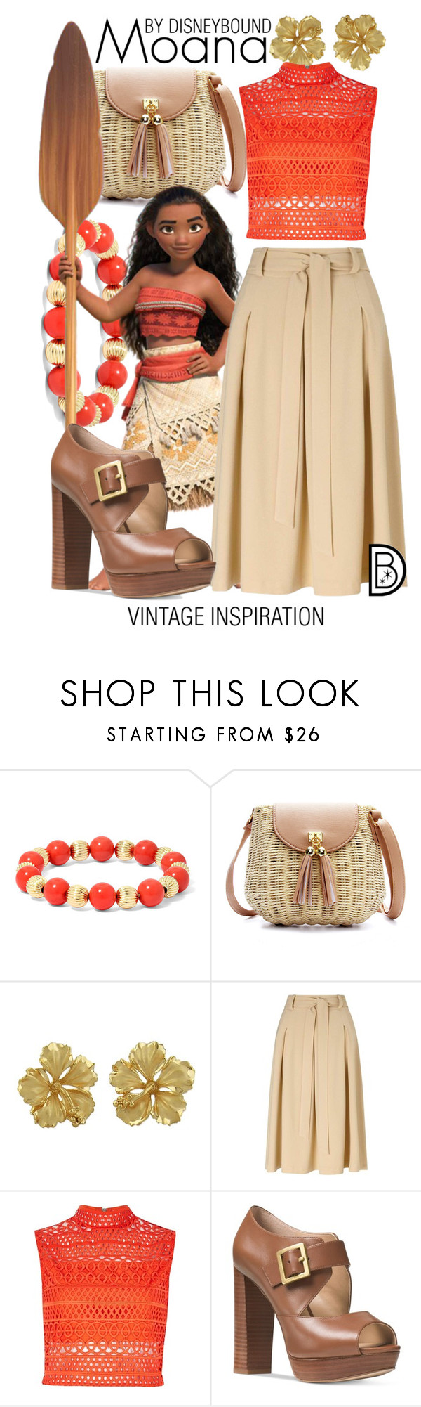 """Moana"" by leslieakay ❤ liked on Polyvore featuring Monet, Miss Selfridge, River Island, Michael Kors, vintage, disney, disneybound and disneycharacter"