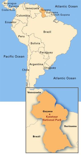 Guyana Amerindian Tribe Map | Map of South America, with an enlarged ...