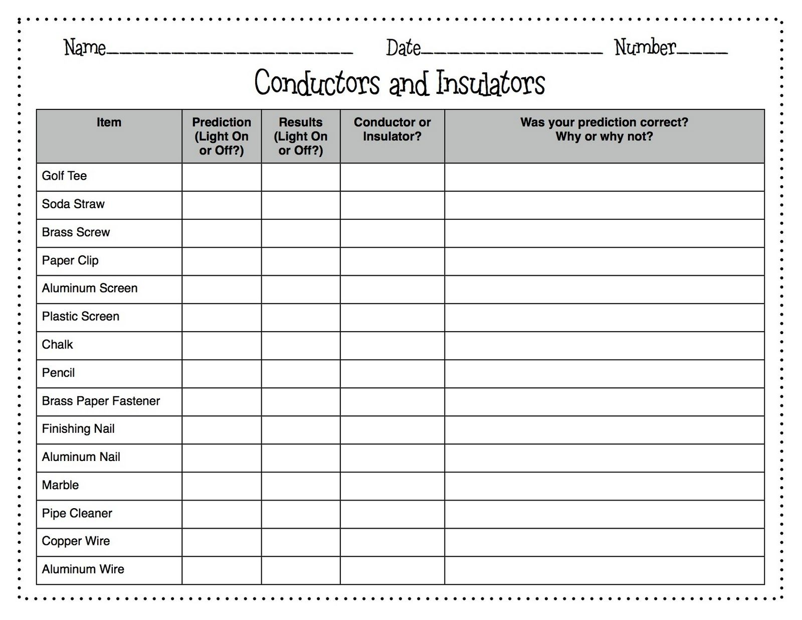 Conductors Vs Insulators Wkst