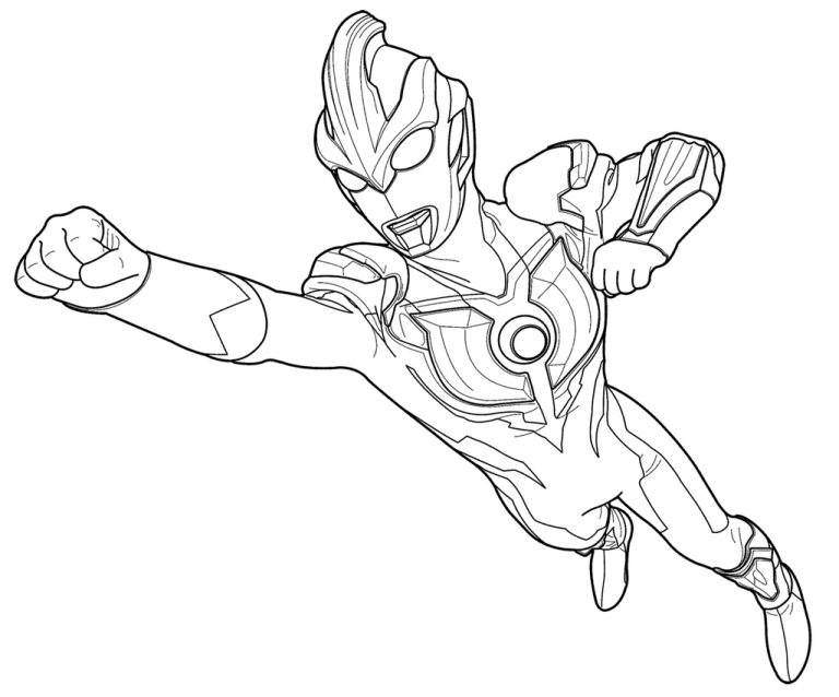 Ultraman Ginga Flying Coloring Page For Kids Fantastic Ultraman
