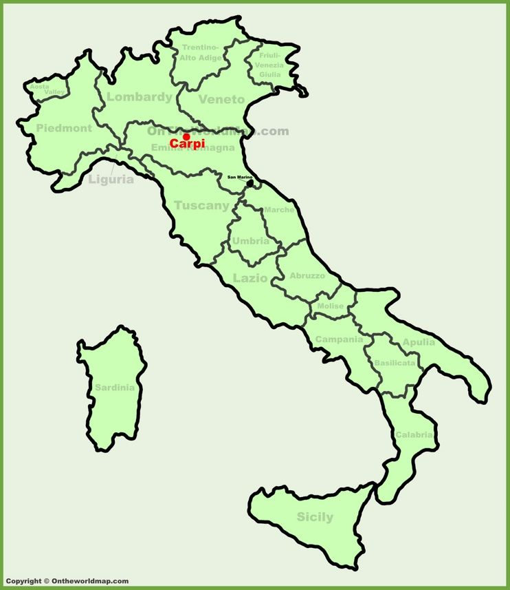 Carpi location on the Italy map Maps Pinterest Italy and City