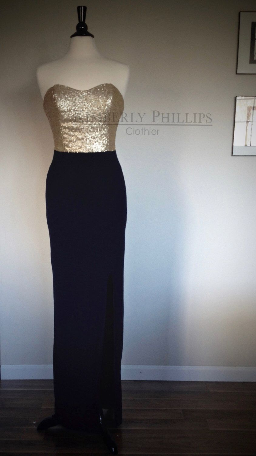 Long Sequin Bridesmaid Dress With Matte Gold Sequined Bodice Navy Skirt And Orted