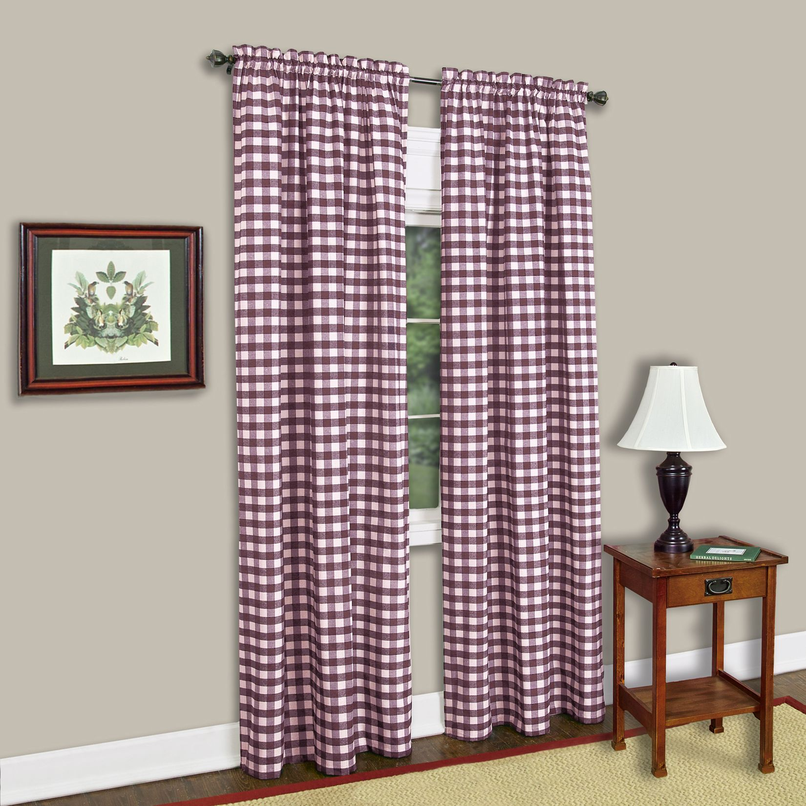 Achim buffalo check window curtain panel blue blue green and taupe