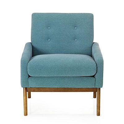 Sophia Fauteuil vintage en tissu bleu fauteuil Pinterest