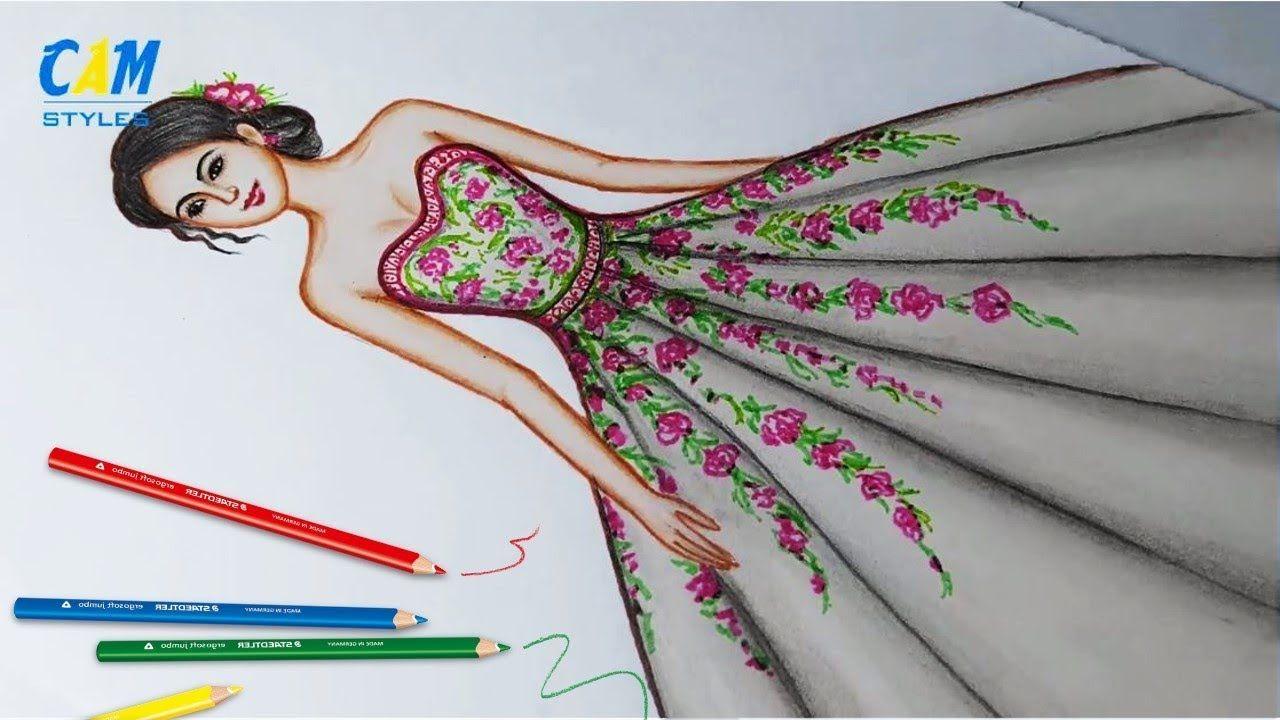 Drawing Dress Using Color Pencil Fashion Illustration Art Fashion Il Fashion Art Illustration Pencil Fashion Fashion Illustration