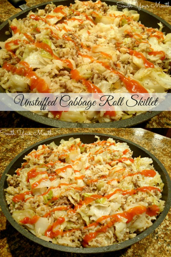 Unstuffed Cabbage Roll Skillet  All the goodness of cabbage rolls without precooking the rice or parboiling the cabbage in this deconstructed cabbage roll recipe that coo...