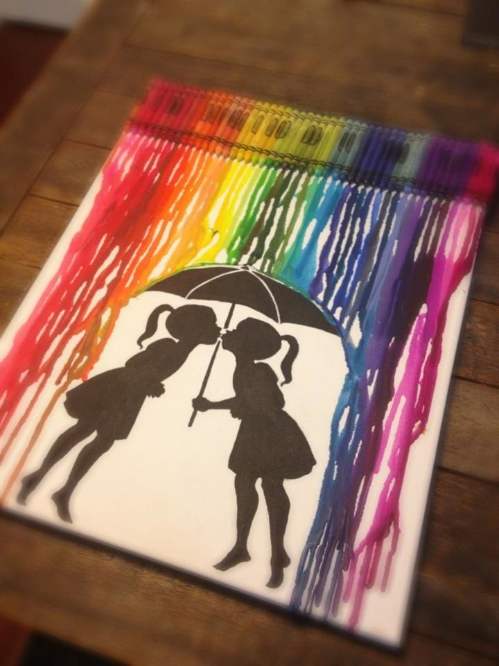 Melted crayon painting i made for my favorite gay person in the world! :)