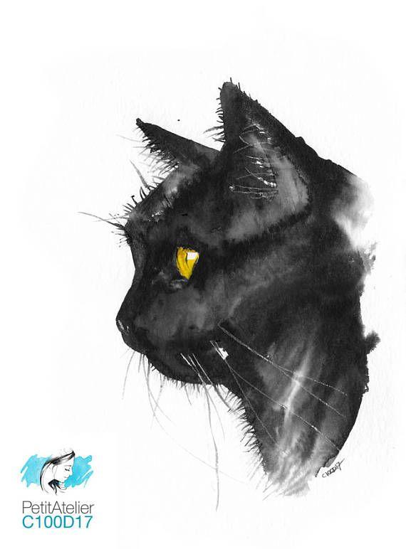 Original Gift Unique Watercolor Cute Black Cat With My