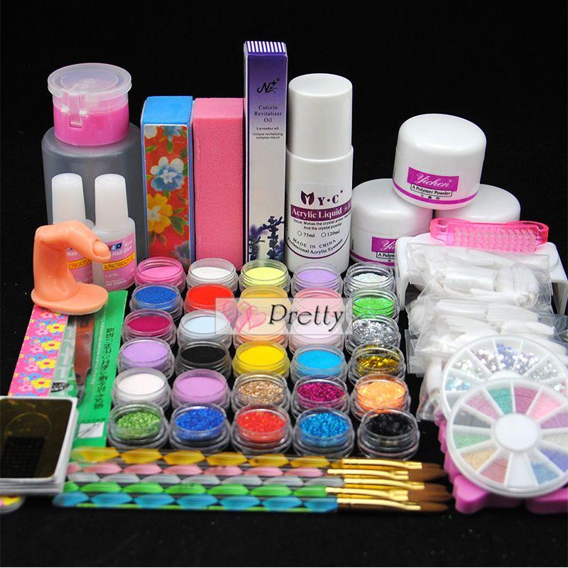 Pro 30 Colors Acrylic Powder Glitter Liquid Nail Art Uv Gel Primer Brush Kit Set Unbranded Acrylic Nails Price Acrylic Nail Primer Nail Kit Diy