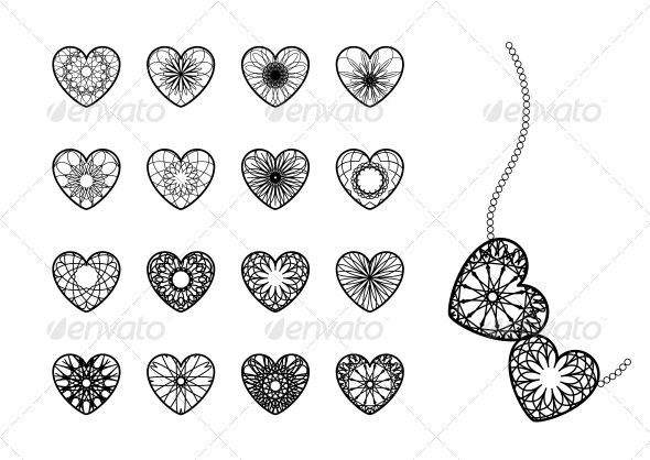 Ornamental Heart Symbols Symbols