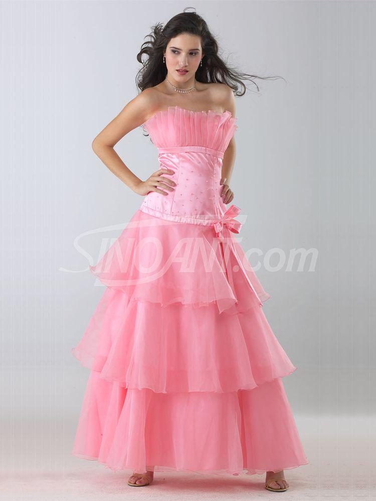 Pink Scalloped Neckline Organza Prom Dress