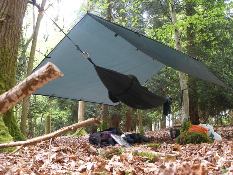 Medium image of bushcraft camp   tarp hammock this how the otherhalf likes to sleep when we