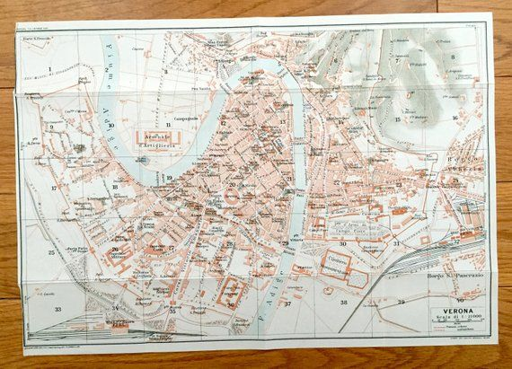 Antique 1937 Map of Verona Italy from Muirhead s Blue Guides