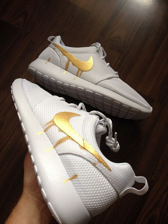 36d9a73dc217 Nike Roshe Run One White with Custom Gold Candy by DenisCustoms ...