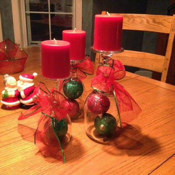 centros de mesa feitos com taa as de vinho para o natal christmas centerpieceschristmas
