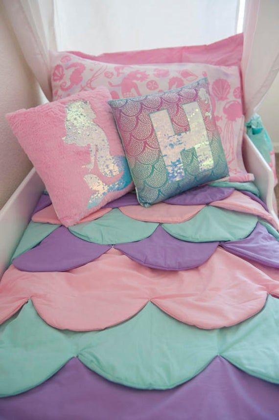 Mermaid Bed, Mermaid Canopy Bed, Girls Bed, Toddler, Twin or Full, Mermaid Bedding, Canopy Top, Personalized Step, Princess Bed, Pink Bed #mermaidbedroom