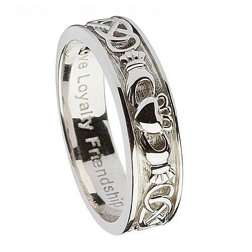 Womens Silver Claddagh Wedding Ring