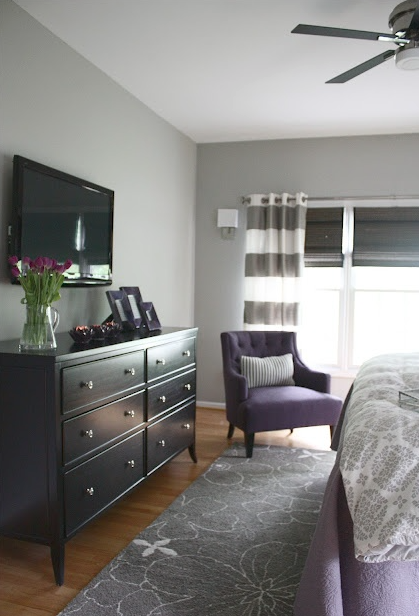 Colors For Sanctuary Light Gray Walls Black Purple Elements Bedroom Makeover Before And After Home Bedroom Master Bedroom Makeover