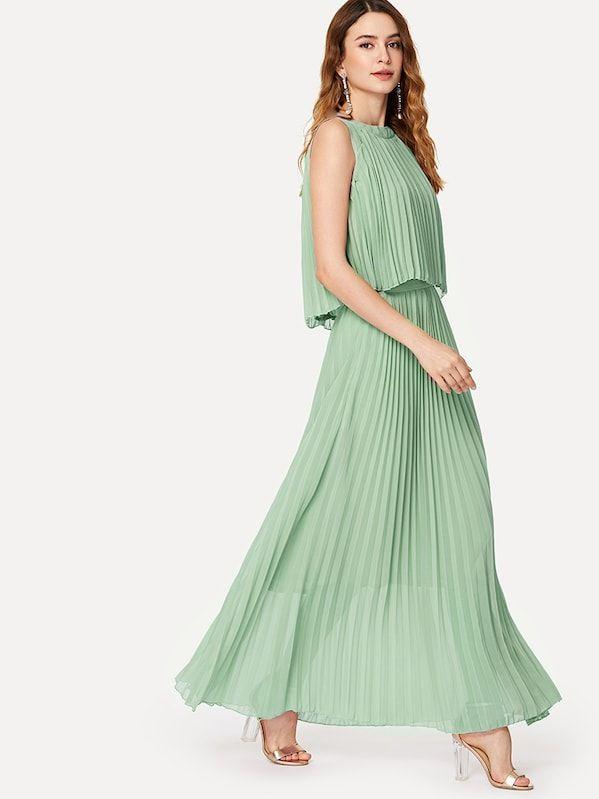 cdc300d6680 Pleated Hem Solid Dress -SheIn(Sheinside)