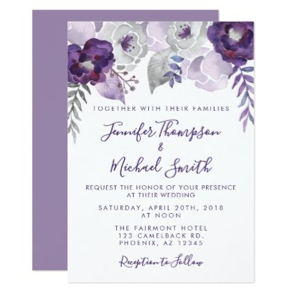 Purple Beautiful Lily Flower Personalized Wedding Save The Date Cards