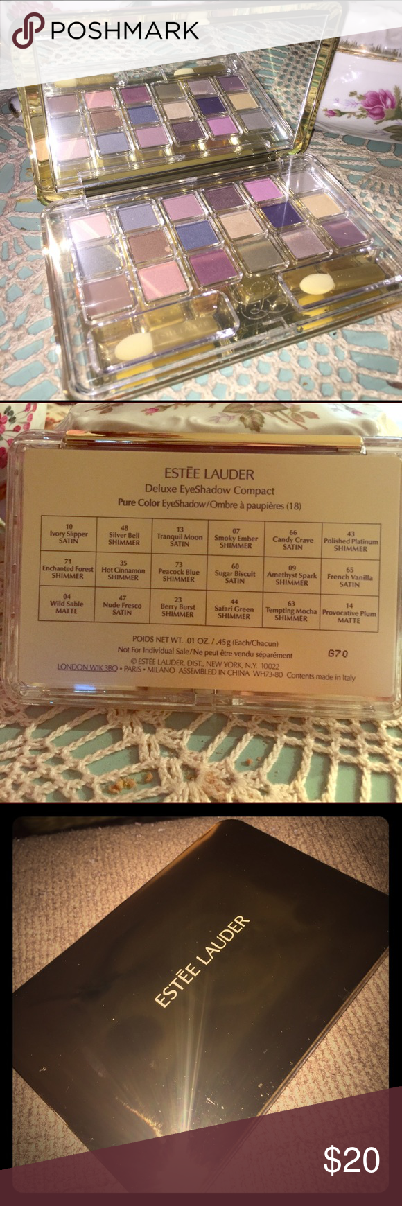 Estee Lauder deluxe eye shadow compact Gold Estée Lauder eye shadow compact with 18 colors to choose from. Never used. There is no box. Came as a set with other items. Estee Lauder Makeup Eyeshadow