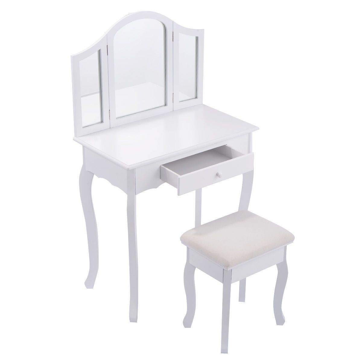 Dressing table with mirror black  white vanity makeup dressing table with tri folding mirror