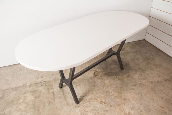 Oval Dining Table In Racetrack Shape Made In White Quartz With Steel