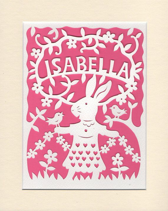 Baby girl gift personalised papercut nursery decor woodland baby girl gift personalised papercut nursery decor woodland rabbit birds flowers lovely negle Image collections
