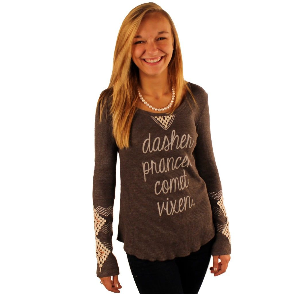 Long Sleeve Dasher, Dancer Waffle Shirt in Grey with Diamond Sleeve Detail by Judith March. We've always believed the first four reindeer are the best. Don't act like you don't agree. Rudolph is just too much of a prima donna. #JudithMarch #preppy #Christmas #shirt http://www.countryclubprep.com/long-sleeve-dasher-dancer-waffle-shirt-in-grey-with-diamond-sleeve-detail-by-judith-march.html