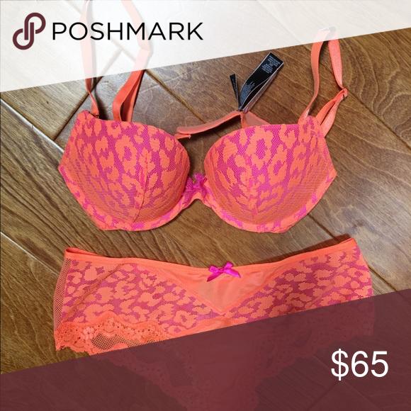 e6484da34e Victoria s Secret orange pink leopard bra panty Victoria s Secret orange pink  leopard print