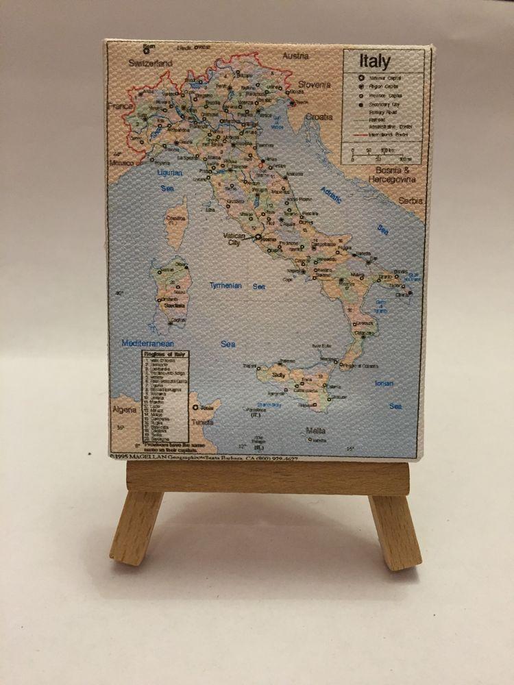 Cartina Dell Italia In Miniatura.Quadro Mini Tele 9x7 Cm Cartina Italia Politica Con Cavalletto Cavalletto Mini Tela Miniature