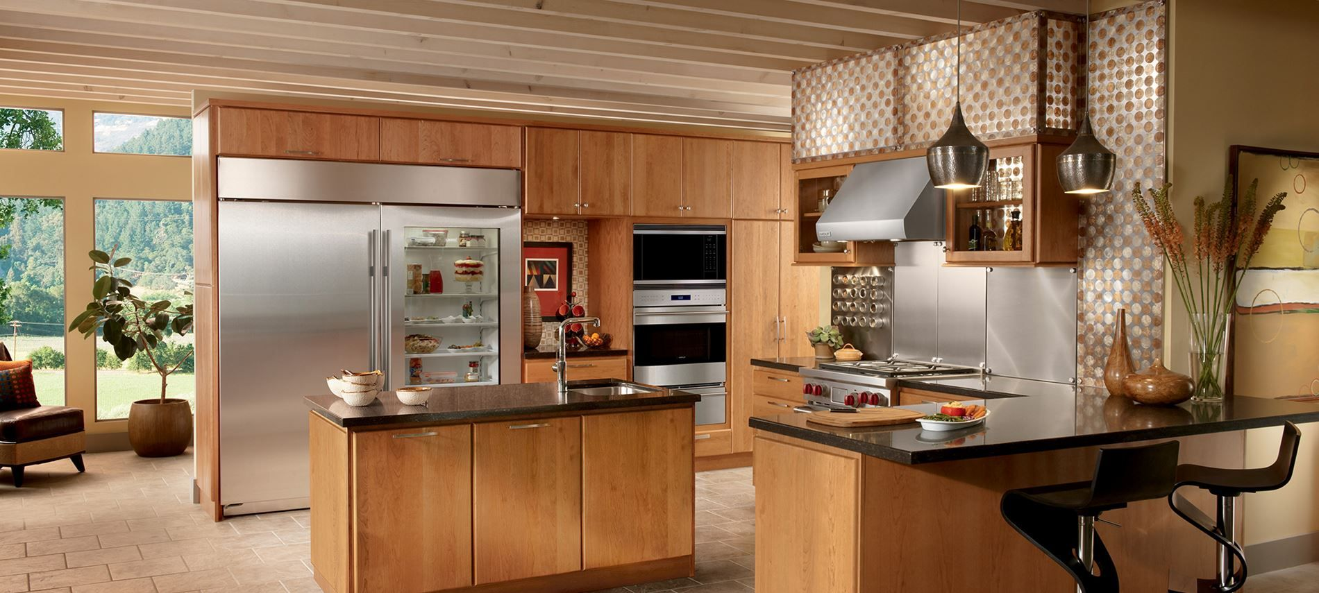 U Shaped Kitchen Design With Island Feat Stylish Glass Front Refrigerator Residential And Black Barstools Modern
