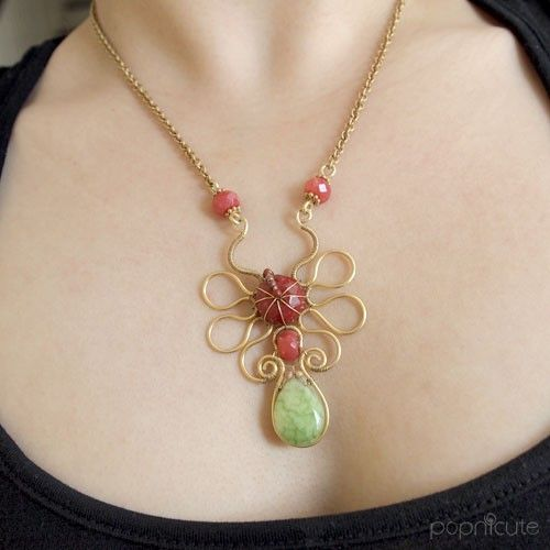 Gold Vermeil Wire Wrapped Necklace with Red and Green Jade | popnicute - Jewelry on ArtFire