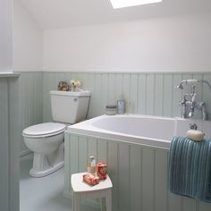 Great Aqua Tongue And Groove Bathroom