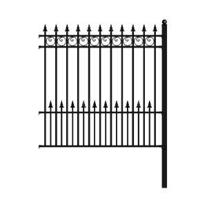 Aleko Prague Style 5 Ft X 5 5 Ft Black Iron Diy Fence Panel