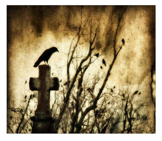 ravens art Strange Days  crows graveyard  gothic  by gothicrow, $17.00