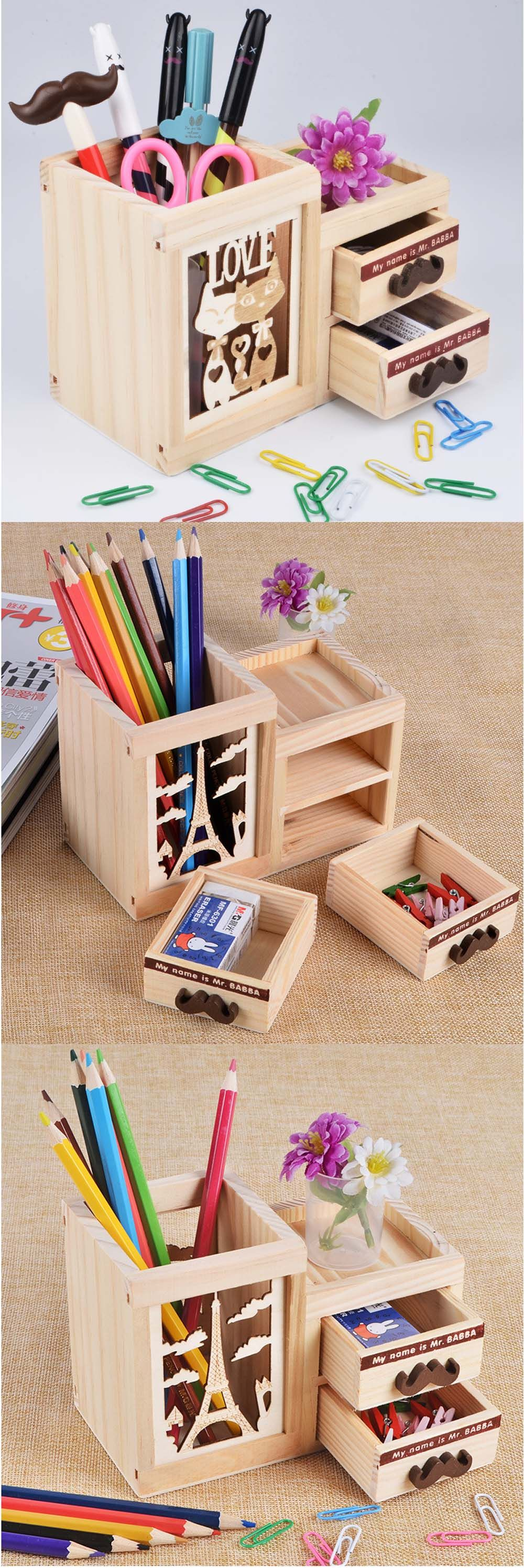 Desktop Hollow Wooden Double Drawer Pen Holder Tower Cat Potala Palace  Office Stationary Supplies Stationary Supplies