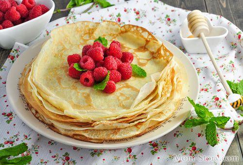 ТОНКИЕ БЛИНЧИКИ НА МОЛОКЕ   Идеи для блюд, Рецепты блинов ...