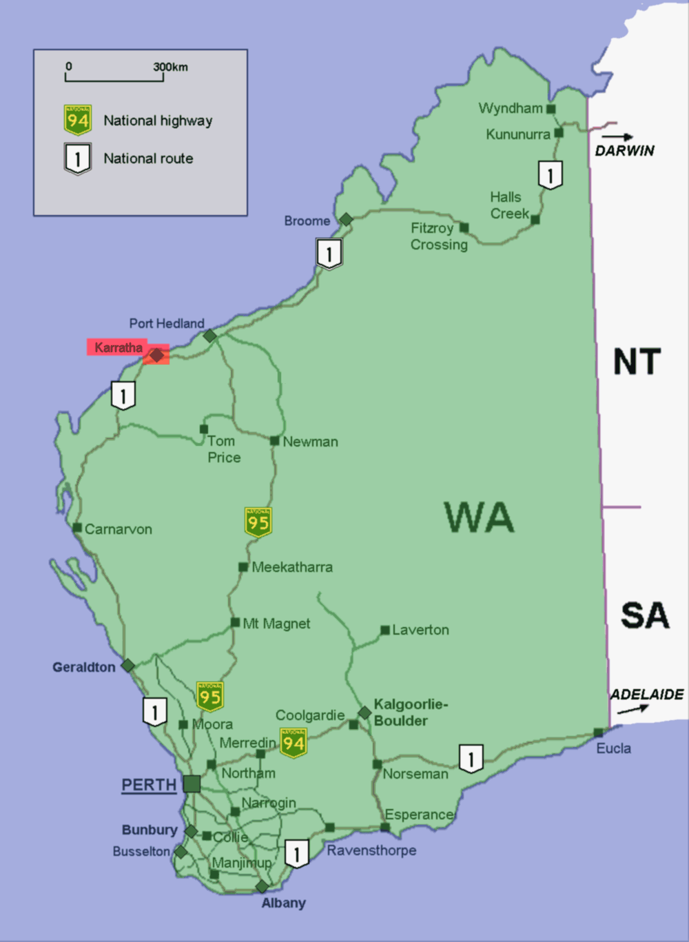Map Of Western Australia With Cities.Newman Karratha And Perth Western Australia Australia Map