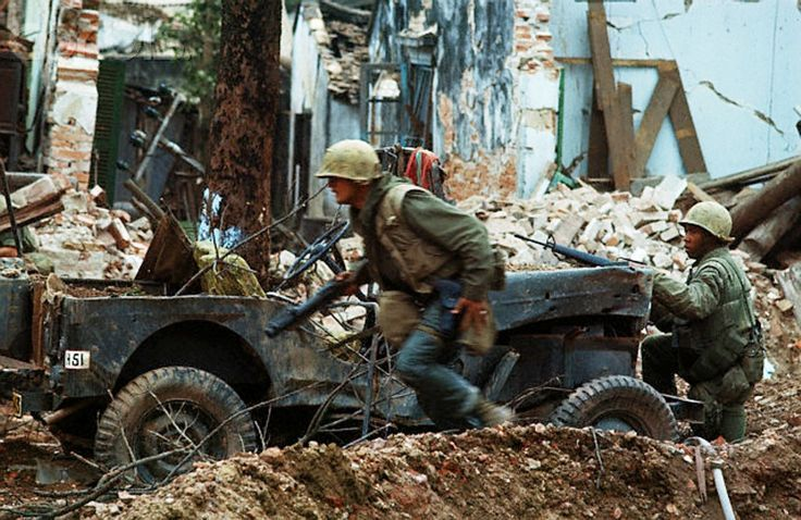 Street combat during the Tet offensive, 1968. Vietnam