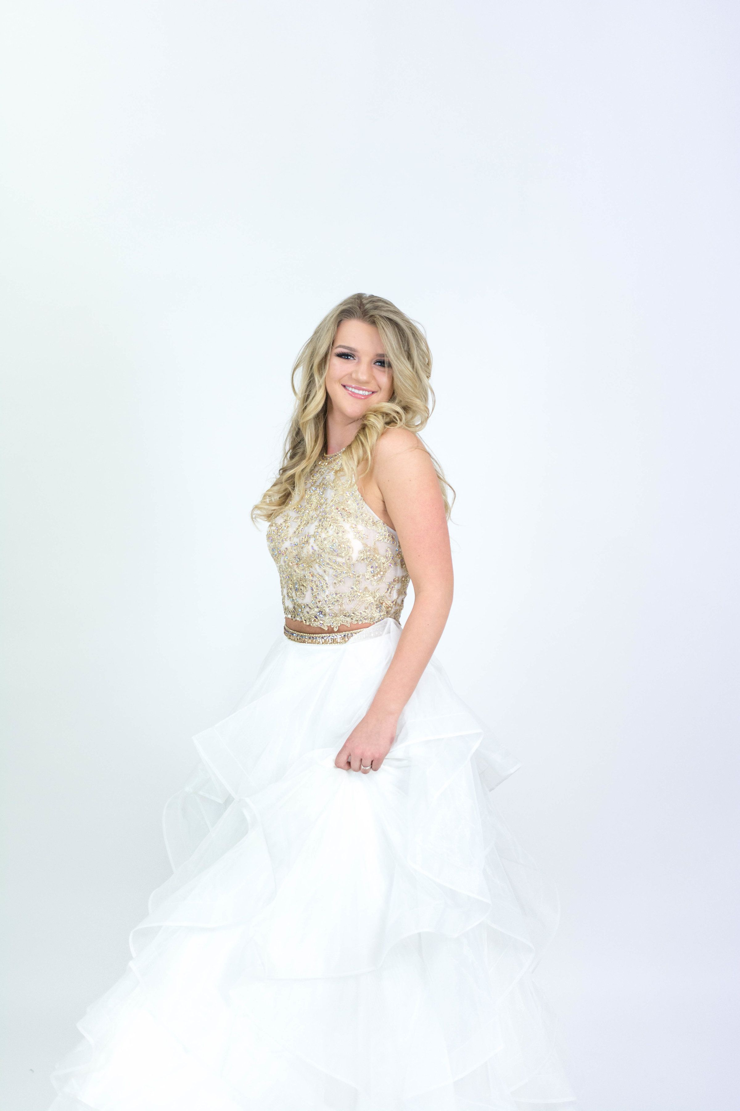 White piece ruffle skirt and gold beaded top ypsilon dresses prom