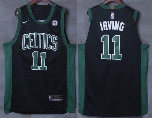Men s Boston Celtics  11 Kyrie Irving Black 2017-2018 Nike Swingman General  Electric Stitched NBA Jersey 50f713e32