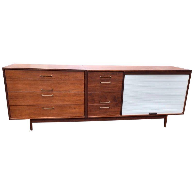 Jens Risom Mid Century Modern Walnut Credenza 1960s Eight Drawers Tambour Door Living Room Furniture Online Modern Credenza Midcentury Modern