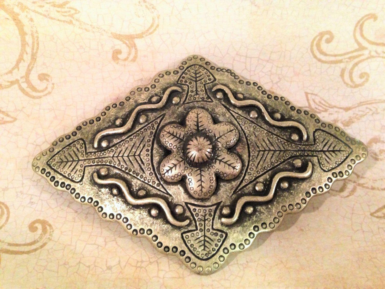 Pewter Belt Buckle, Flower Design Belt Buckle, Scrolled Belt Buckle, Etched Belt Buckle, Diamond Shape Buckle by DartmouthHill on Etsy https://www.etsy.com/listing/262911082/pewter-belt-buckle-flower-design-belt