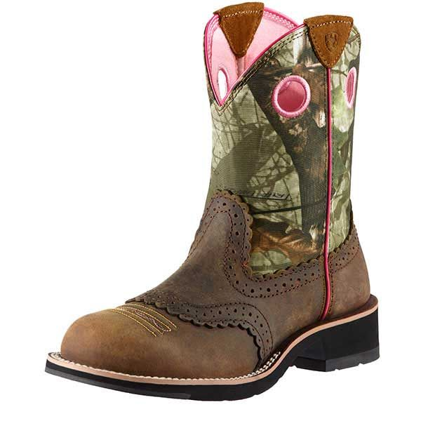 Ariat Pink Camo Saddle Vamp Fatbaby Cowgirl Boots - Round Toe ...