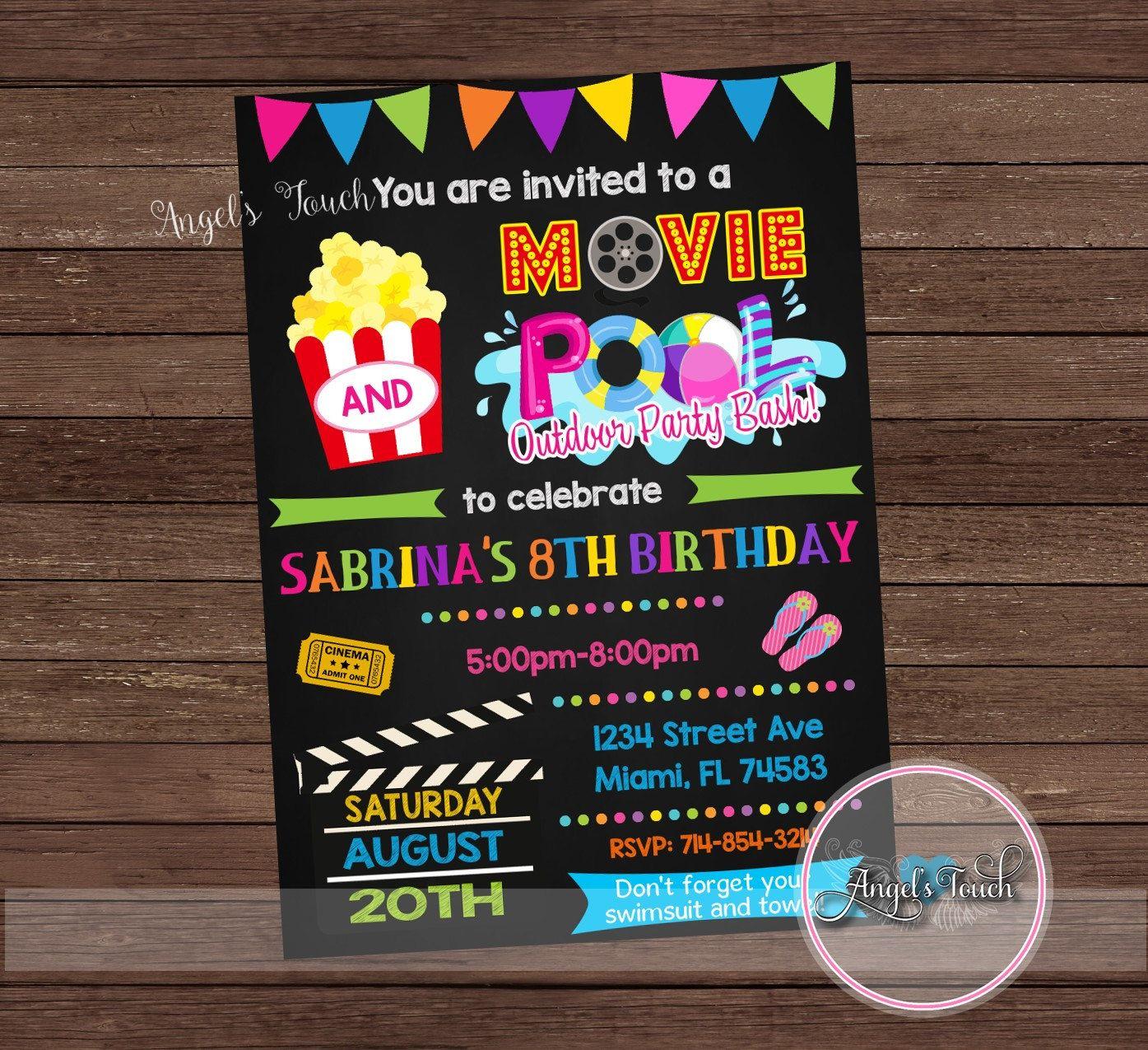 Movie And Pool Party Invitation Movie Night Party Invitation Etsy Movie Night Party Invitations Pool Party Invitations Movie Night Invitations
