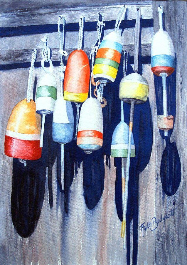 Bouees Inconnu Peinture Bateau Aquarelle Peinture